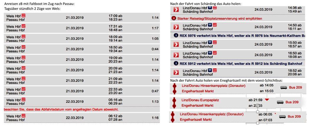 Zugverbindungen und Schichtbus Linz-Engelhartszell 3x täglich, Fahrzeit unter 1 Stunde: