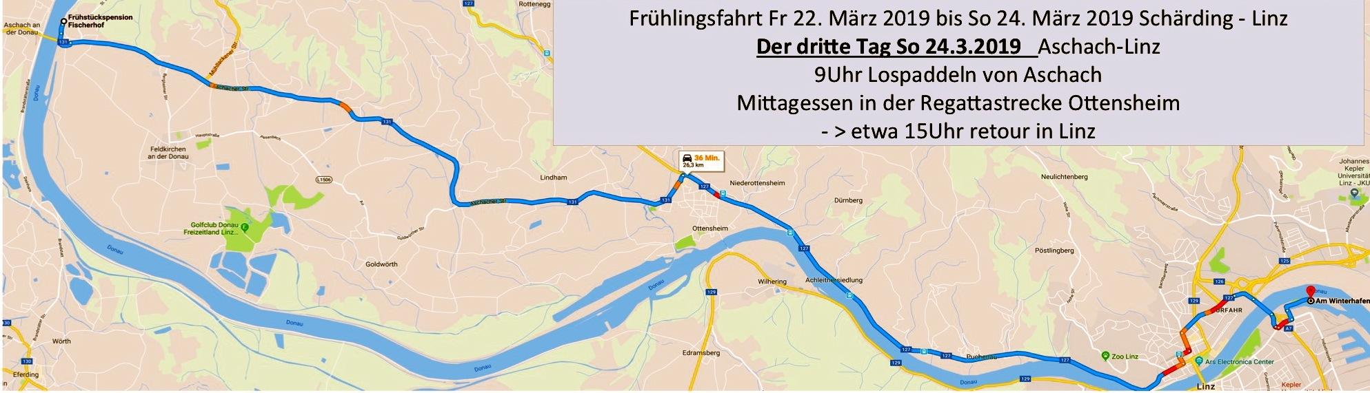 Der dritte Tag, wir erreichen am frühen Nachmittag Linz, Linzer Faltbootclub im Winterhafen 18a.
