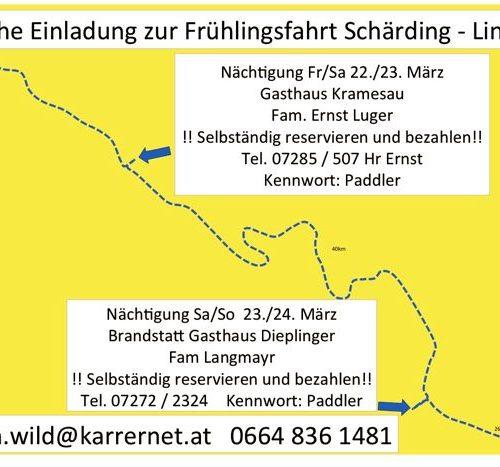 Skizze der ganzen Fahrt von Schärding am Inn bis Linz an der Donau: