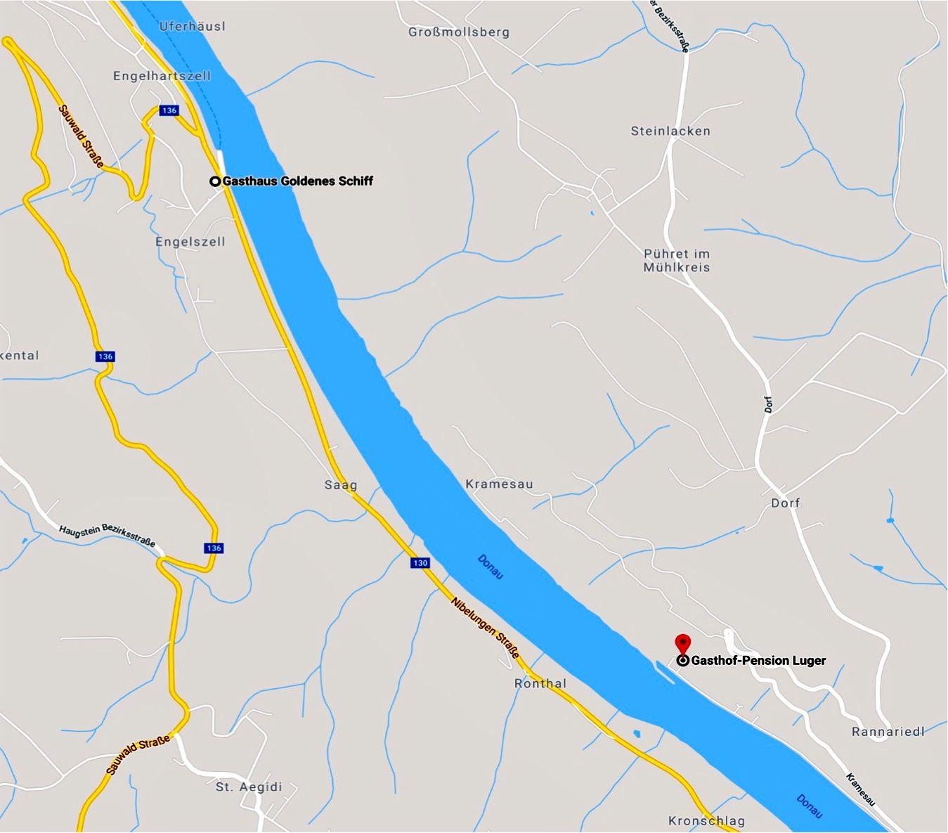 Engelhartszell für alle als Einstieg, die erst am Samstag Zeit haben, rechts in der Kramesau beim Hafen nächtigen wir Fr/Sa bei Fam Ernst Luger.